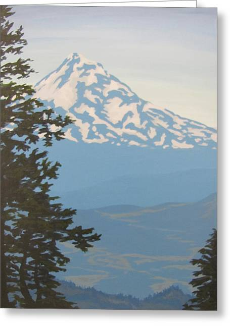 Greeting Card featuring the painting Mt Hood by Karen Ilari