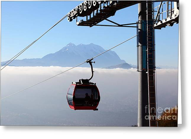 Mt Illimani And Cable Car Greeting Card
