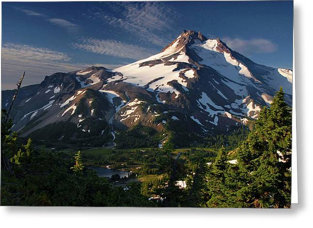 Mt Jefferson At Sunrise, Mt Jefferson Greeting Card by Timothy Herpel