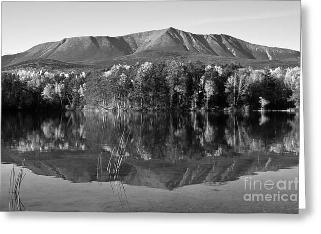 Mt Katahdin Black And White Greeting Card