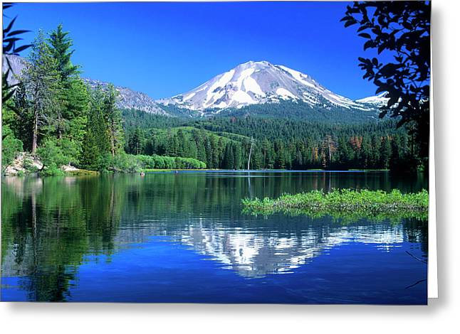 Mt Lassen Rises Above Manzanita Lake Greeting Card by John Alves