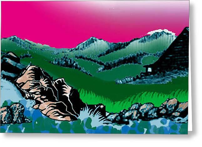 Mt Montana Cabin Greeting Card