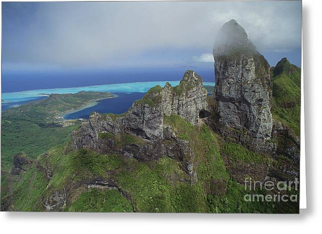 Mt. Otemanu In Clouds Greeting Card by Art Wolfe