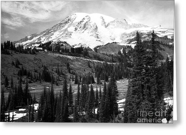 Mt. Rainier And Paradise Lodge 1950 Greeting Card
