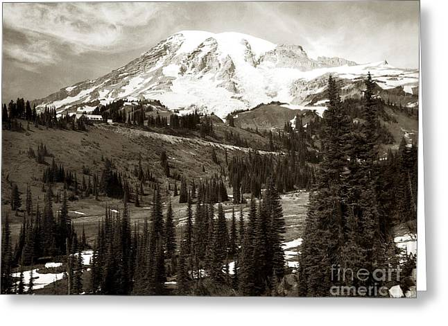 Mt. Rainier And Paradise Lodge In Sepia 1950 Greeting Card