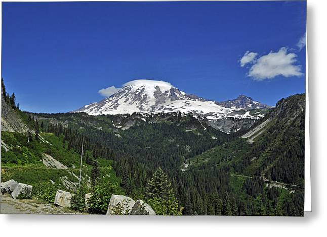 Mt Rainier Between The Valley Greeting Card