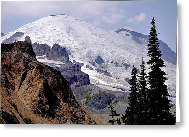 Mt Rainier From Panhandle Gap Greeting Card by Scott Nelson