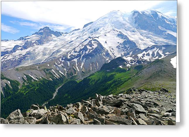 Mt Rainier From Sunrise Greeting Card by Scott Nelson