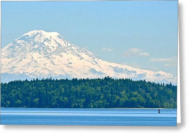Mt Rainier From The Sound Greeting Card