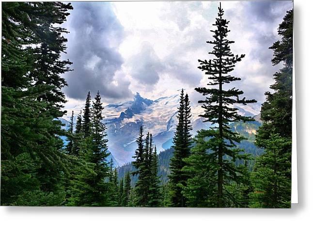 Greeting Card featuring the photograph Mt Rainier by Lynn Hopwood