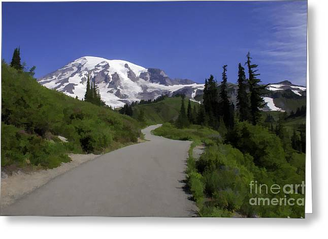 Mt Rainier Painted Greeting Card
