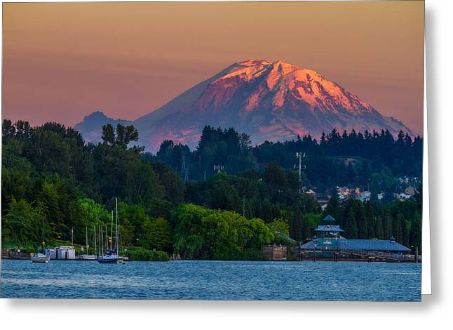 Mt Rainier Sunset At The Lake  Greeting Card by Ken Stanback