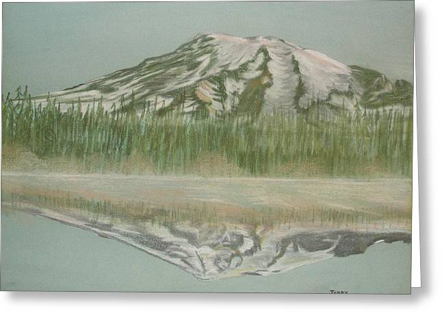Greeting Card featuring the pastel Mt Rainier by Terry Frederick