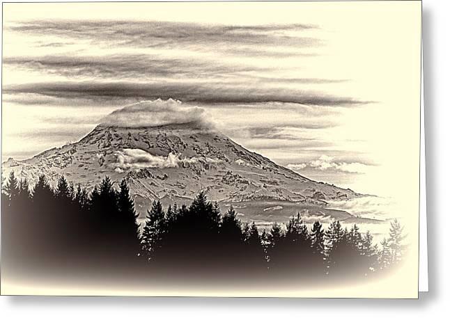 Mt. Rainier Wa In Black And White Greeting Card
