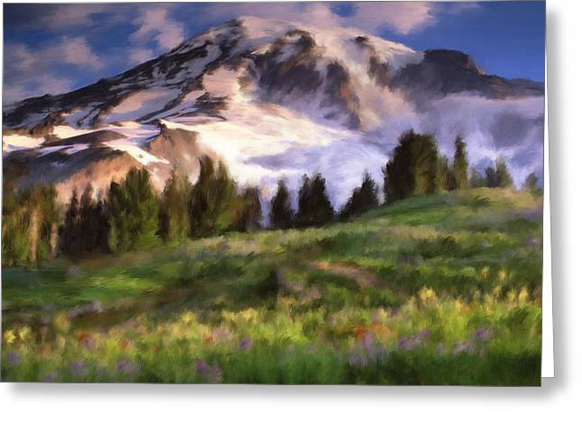 Mt Rainier Wildflowers Greeting Card