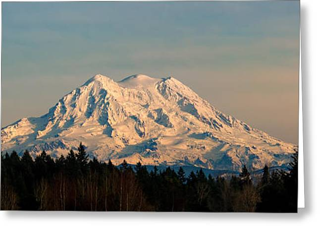 Mt Rainier Winter Panorama Greeting Card