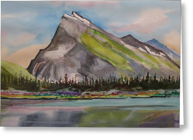 Mt. Rundle Greeting Card by Mohamed Hirji