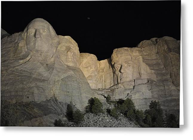 Mt. Rushmore At Night Greeting Card