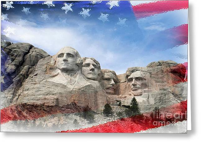 Mt Rushmore Flag Frame Greeting Card by David Lawson