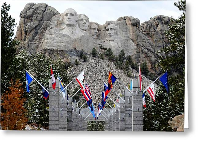 Mount Rushmore Flagway  Greeting Card by Clarice  Lakota
