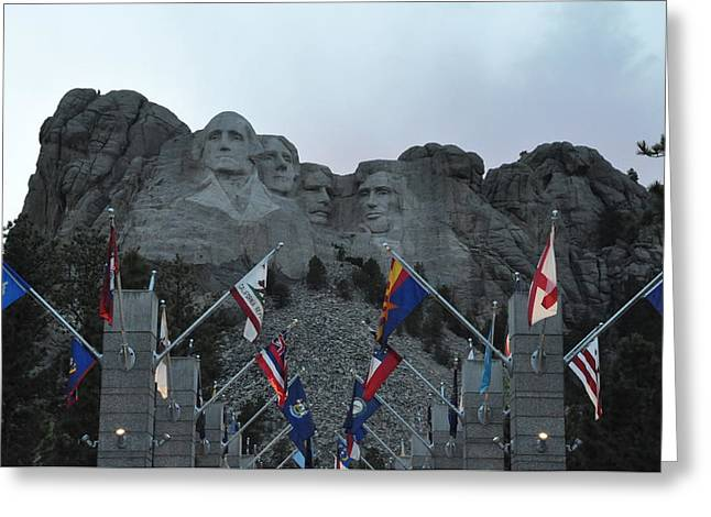 Mt. Rushmore In The Evening Greeting Card