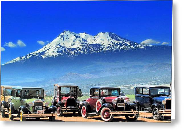 Mt. Shasta And Retro Cars  Greeting Card