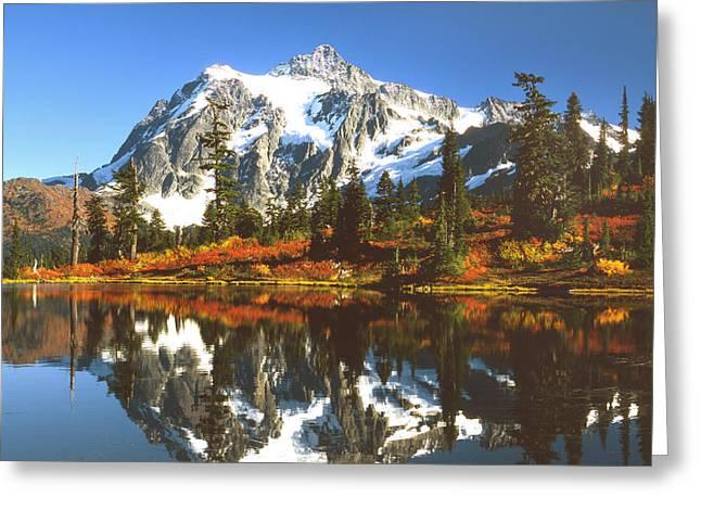 Mt Shuksan Greeting Card by King Wu