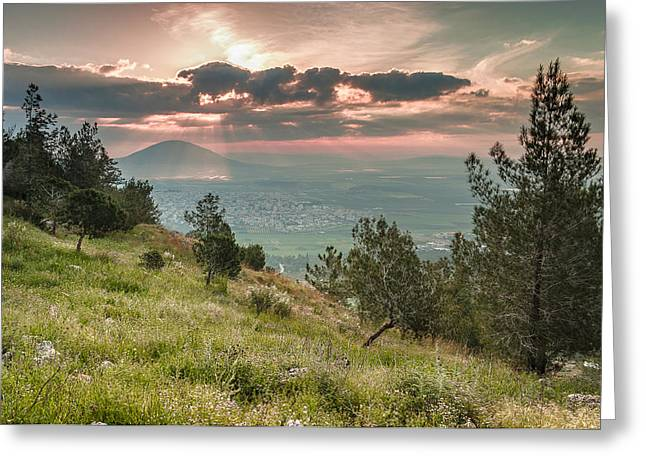 Mt. Tabor From Mt. Of Precipice Greeting Card by Sergey Simanovsky