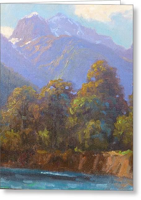 Mt. Tewhero Holyford V.landscape Greeting Card by Terry Perham