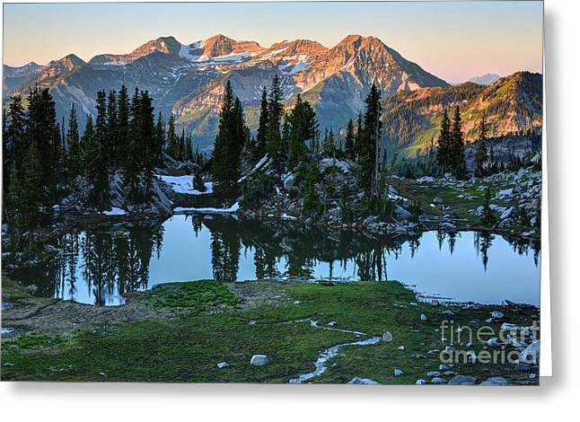 Mt. Timpanogos At Sunrise From Silver Glance Lake Greeting Card