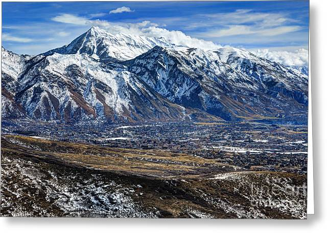 Mt. Timpanogos In Winter From Utah Valley Greeting Card