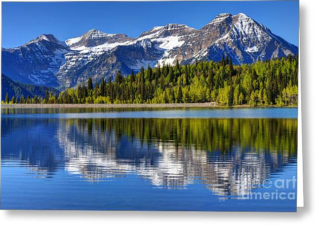 Mt. Timpanogos Reflected In Silver Flat Reservoir - Utah Greeting Card