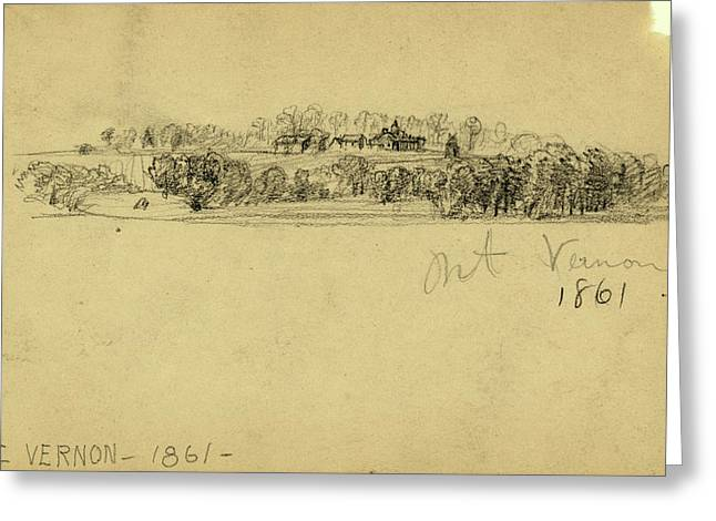Mt. Vernon, 1861, 1861, Drawing On Cream Paper Pencil Greeting Card