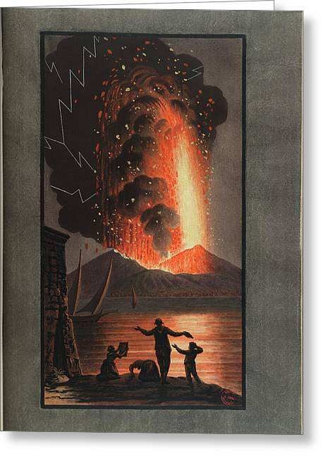 Mt. Vesuvius Erupts At Night Greeting Card