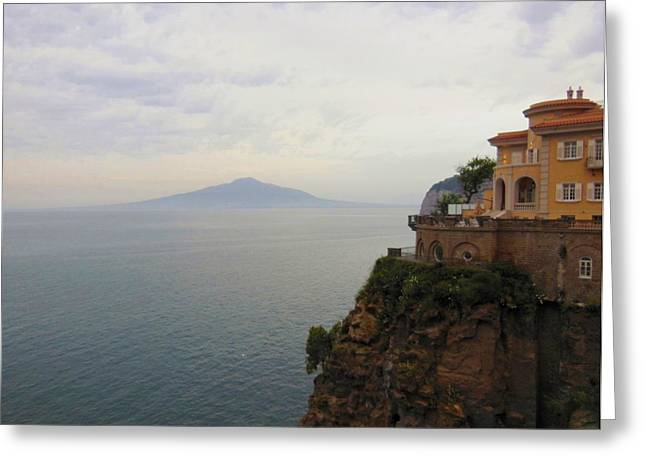 Mt Vesuvius From Sorrento At Dusk Greeting Card by Marilyn Dunlap