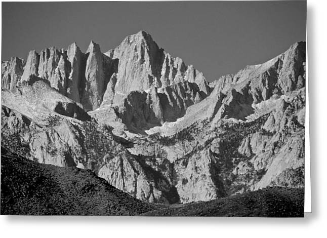 Mt. Whitney In Black And White Greeting Card by Eric Tressler