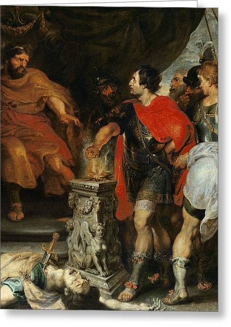 Mucius Scaevola Before Lars Porsena Greeting Card by Rubens