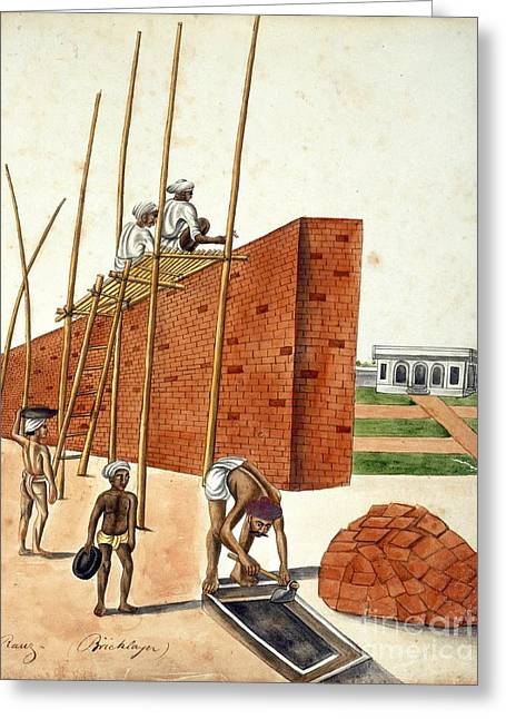 Mud Wall Construction In India, 1810s Greeting Card