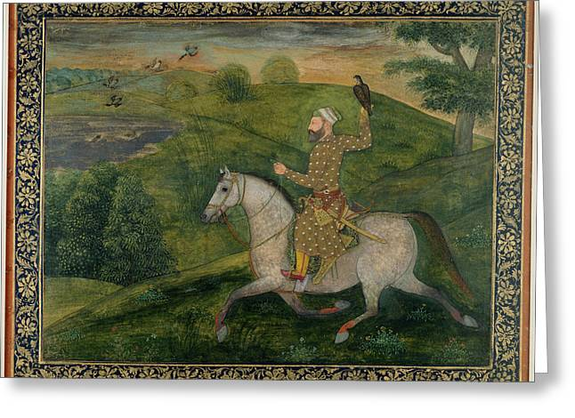 Mughal Nobleman Out Hawking Greeting Card