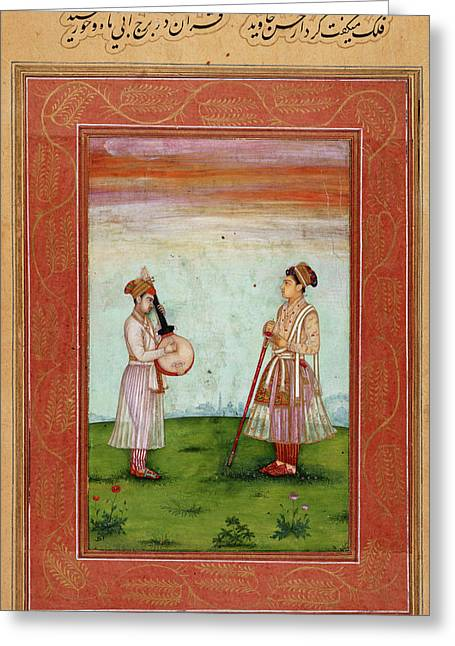 Mughal Prince With Musician Greeting Card by British Library
