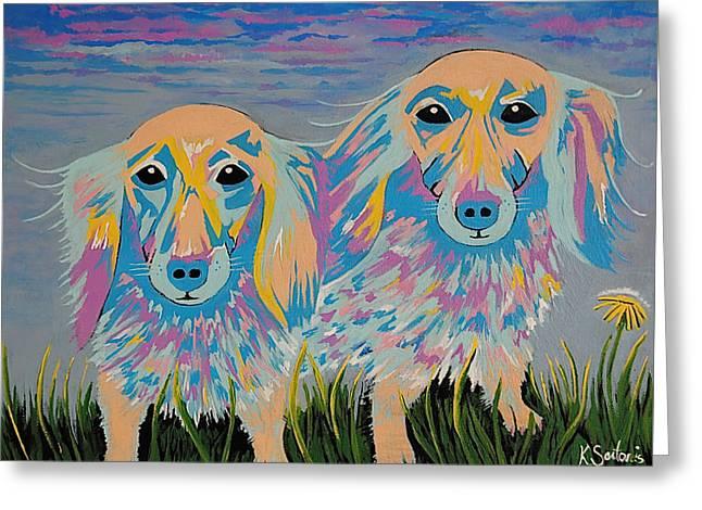 Mugi And Tatami - Contemporary Dachshunds Dog Art Greeting Card