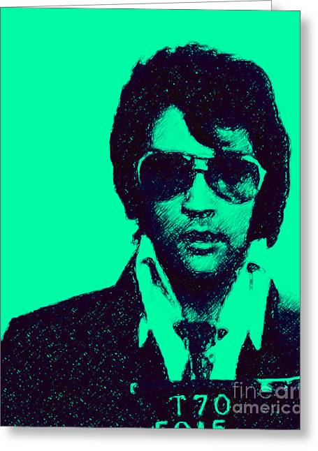 Mugshot Elvis Presley P128 Greeting Card by Wingsdomain Art and Photography