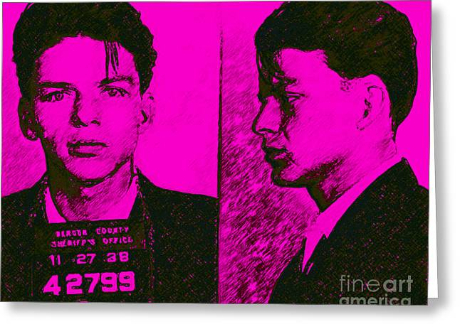 Mugshot Frank Sinatra V2m80 Greeting Card by Wingsdomain Art and Photography