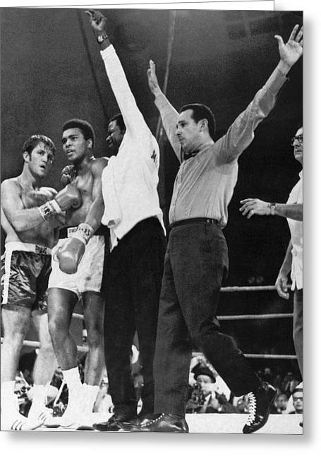 Muhammad Ali And Jerry Quarry Greeting Card by Underwood Archives