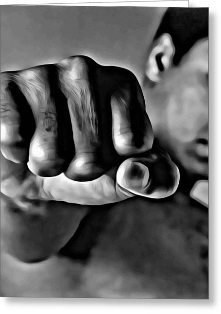 Greeting Card featuring the painting Muhammad Ali Fist by Florian Rodarte