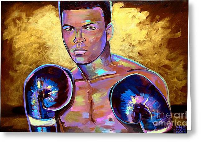 Greeting Card featuring the painting Muhammad Ali by Robert Phelps