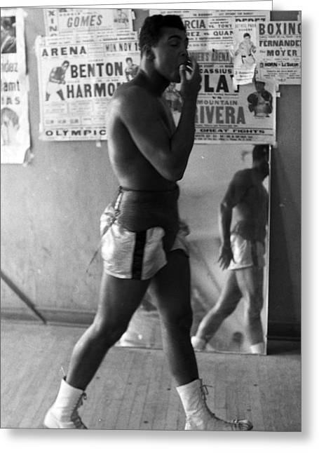 Muhammad Ali Walking In Gym Greeting Card
