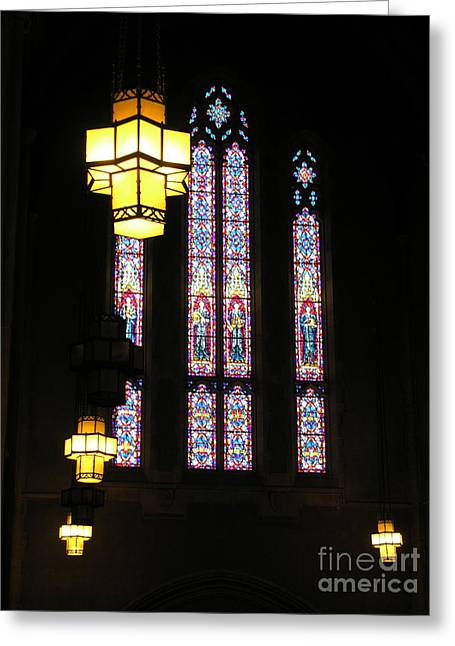 Egner Memorial Chapel Windows And Tudor Luminaries Greeting Card by Jacqueline M Lewis