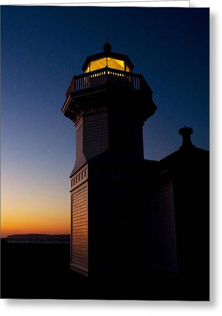 Greeting Card featuring the photograph Mukilteo Light House Sunset by Sonya Lang