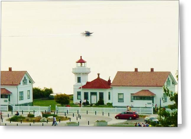 Mukilteo Lighthouse And The Lone Speedboat Greeting Card by Ann Michelle Swadener